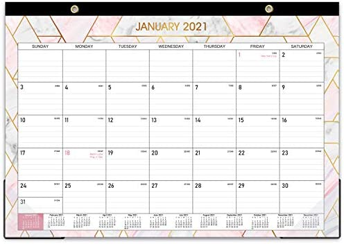 Desk Calendar Desk Wall Calendar 2021 with Transparent Protector Marble 17 x 12 Jan 2021 Dec product image
