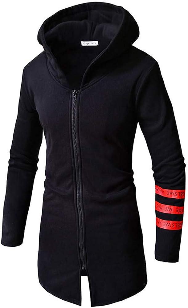 MODOQO Long Sleeve Winter Trench Coat for Men Warm Zipper Hoodies Jacket Top