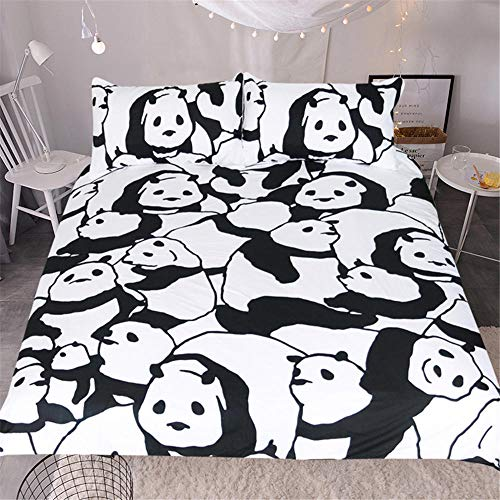 JNBGYAPS 3D Effect Printed duvet cover Black and white panda Bedding set with Pillocases (with Zipper Closure) Soft Microfiber Quilt Cover Single 135X200cm