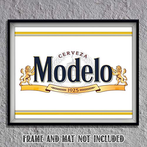 Modelo Beer- Logo Poster Print- 10 x 8' Wall Decor Print-Ready To Frame.'Cerveza-1925'-Beer Sign Replica Print. Perfect Decor for Man Cave-Bar-Game Room-Garage-Dorm. Great Gift!