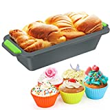 Silicone Bread and Loaf Tins, Nonstick Toast Bread Mold, Easy Release Baking Mold for Homemade Cakes and Breads+10pcs Reusable Cupcake Molds