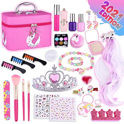 Peertoys Unicorns Makeup Toys for Girls - Kids Pretend Play Washable Real Make Up Cosmetic Kit Non Toxic Toy for Little Princess Toddler with Case Bag Toddlers Ages 3 4 5 6 7 8 9 10 11 12 Years Old