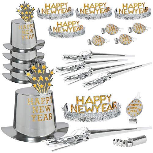 com-four® 30 Piezas Conjunto de Fiesta de año Nuevo - Sombreros de Fiesta de año Nuevo para 10 Personas - Fiesta de año Nuevo Feliz año Nuevo - 2020 (Set01-30 Piezas)