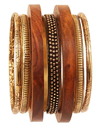 Touchstone Indisches Bollywood handgefertigt hübsch Sortiert Muster Designerschmuck Messing und Holz Armreifen Armbänder für Damen 2.5 Set von 7 Gold