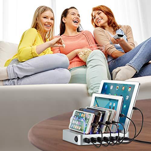 Simicore Estación de Carga Inteligente y Organizador para Smartphones, tabletas y Otros Dispositivos - Cargador USB Compacto y estación de Acoplamiento para teléfono con indicador de Estado de Carga
