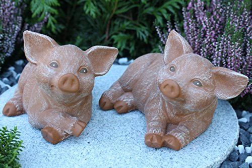 Steinfiguren Spicker Steinfigur Schwein 2er Set, 126/3, 175/3 Ferkel, Gartenfigur Steinguss Tierfigur Terrakotta Patina