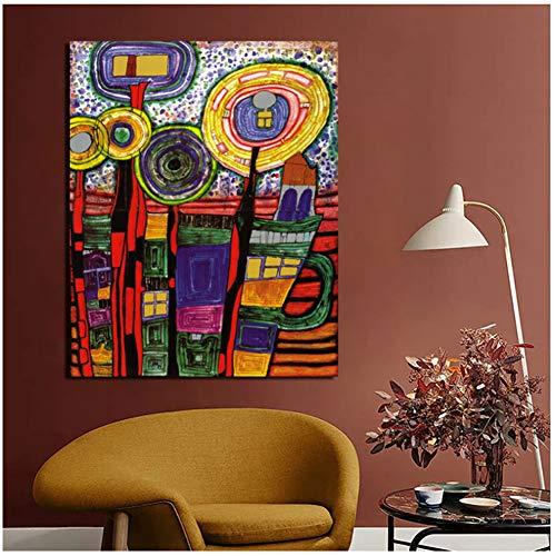 ASLKUYT Friedensreich Hundertwasser Kunst Leinwand Malerei Drucke Wohnzimmer Wohnkultur Moderne Wandkunst Malerei Plakate Bilder-50x80cm Kein Rahmen