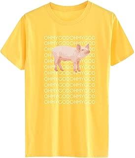 Women's Short Sleeve Print T-Shirt Novelty Style Letter Cute Pig Print O-Neck SADUORHAPPY T-shirt Tops
