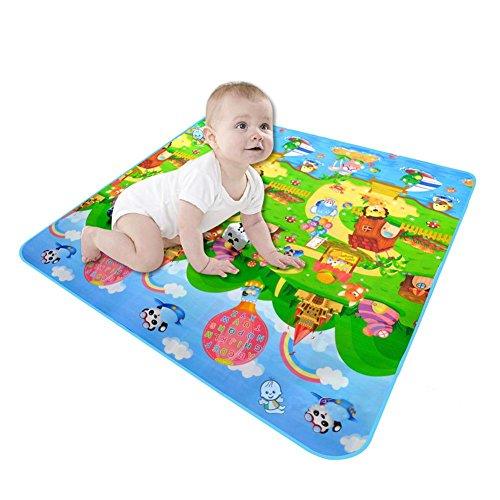 Tapis rampant pour bébé,Puzzle Jouet Puzzle Eva Mat,jeu portable pliant Toddler Eductaional Toy cadeau gym Tapis de sol rampant- 1,8 * 1,2 M