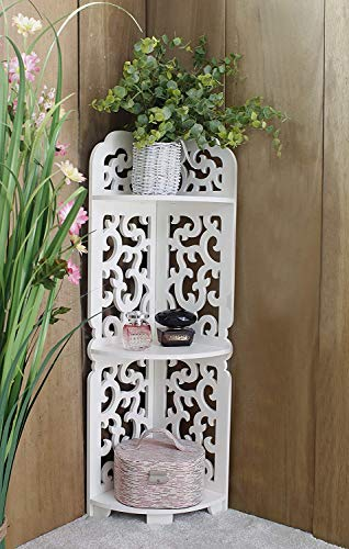 HomeZone 3 Tier White Wooden Filigree Carved Corner Shelving Unit Decorative Display Shelves Shelf Bookcase Bathroom Bedroom Storage