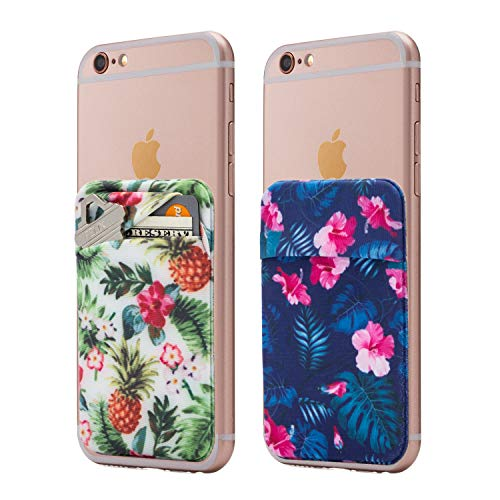 (Two) Stretchy Full Cover Tropical Cell Phone Stick On Wallet Card Holder Phone Pocket for iPhone, Android and All Smartphones. (Tropical)