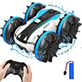 Remote Control Car Boat Truck - 2.4GHz Amphibious 4WD Stunt RC Cars for Kids Gifts Water Pool Toys for 3 4 5 6 7 8 9 Year Old Boys Girls, Blue