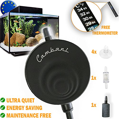 Cambani Aquarium Pumpe Super Leise Luftpumpe <35dB Mini Sauerstoffpumpe Luft-Pumpe für Aquarien mit bis zu 50L Aquarienluftpumpen Energie-Sparende 1W mit Thermometer UMSONST, Rückflusssperre