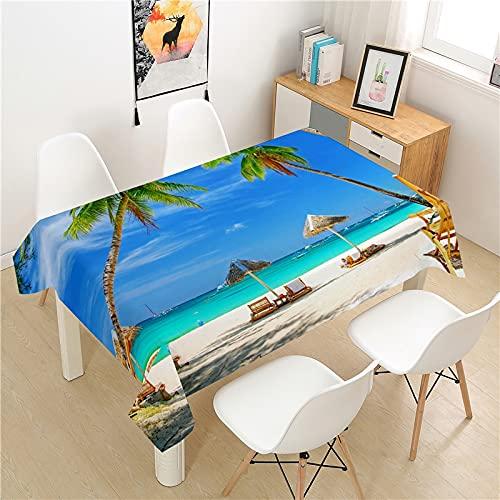 XXDD Mantel de Playa, Mesa de Picnic, Cubierta de Mesa de Comedor Rectangular, Mantel de decoración de Mesa para el hogar Lavable de Estilo nórdico, A1 135X180CM