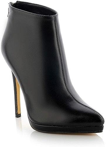 Yanyan Chaussures à Talon pour Femmes, Bottines en Cuir Pointues Chaussures Sexy à Fermeture à glissière Chaussures de cérémonie pour Mariage et soirée