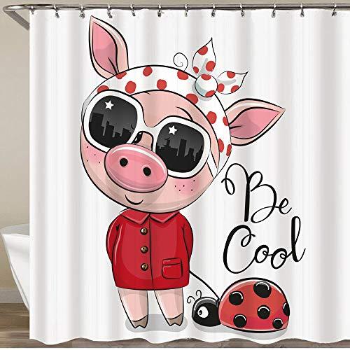 KGSPK Duschvorhang,Cooles Karikatur-süßes Schwein mit Sonnenbrille,Wasserfeste Bad Vorhang aus Polyestergewebe mit 12 Haken Duschvorhang 180x180cm