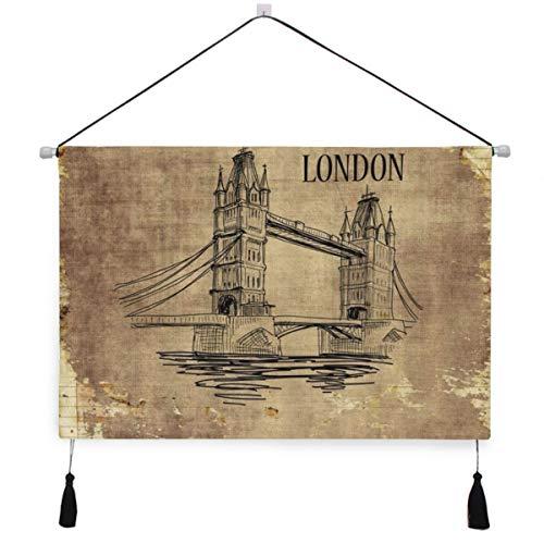 ELIENONO Cartel colgante de lona,London Tower Bridge Nostálgico Landmark Theme Decorativo Amarillo Marrón Estilo francés,tapiz decorativo para decoración de arte de pared de dormitorio de hotel en