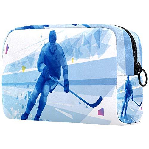 Ice Hockey Joueurs Running Cosmétique Sac cosmétique Sac de Voyage Boîte de Rangement Portable Cosmétique Sac de Pièce de monnaie Sac de Voyage avec F