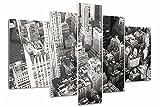 Tulup Cuadro de Cristal Impresión de 5 Piezas 170x100cm Pintura sobre Vidrio Moderno Decoracion de Pared Imagen Gráfica Vidrio Cristal - pájaro vuelo Nueva York