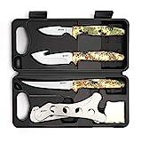 GVDV Kit de cuchillos de caza, juego de accesorios para hombres, juego de carnicero para caza de ciervos, pesca, camping, 6 piezas