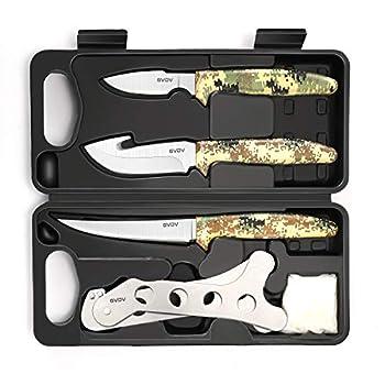 GVDV Couteau De Chasse - L?équipement De La Chasse, Accessoires Pour Homme, Le Traitement De Boucher Pour La Chasse Au Cerf, La Pêche, Le Camping. 6 Pièces