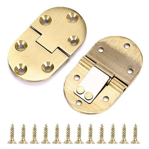 OwnMy 2 Pcs Solid Brass Hinges, Drop Front Desk Drawer Butt Hinge for Table Sewing Machine, Doors and Folding Table with Screws (90 Degree)