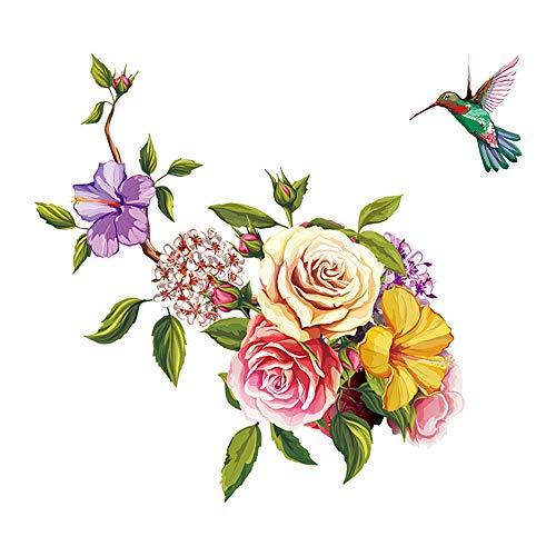 ufengke Pegatinas de Pared Flores Vinilos Adhesivos Pared Colibrí Decorativos para Dormitorio Salón Oficina Habitación Infantiles