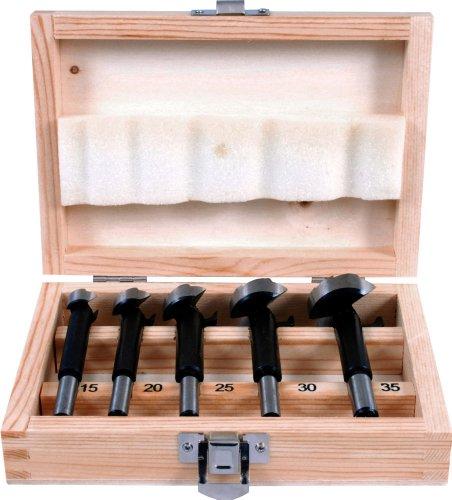 Projahn Maschinen-Forstnerbohrer-Kassette ECO 5-tlg. (punktgenaue, splitterfreie Bohrungen in Holz, mit Zentrierspitze, 2 Hauptschneiden und Umfangschneide; Ø 15 – 20 – 25 – 30 – 35 mm) 33001-1