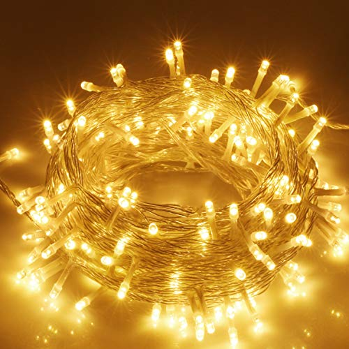 VTECHOLOGY Christmas String Lights, 33FT 100 LEDs Indoor String Lights Plug in 8 Modes Fairy Lights Decoration for Indoor Outdoor, Warm White (Clear Wire)