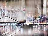 Artland Qualitätsbilder I Bild auf Leinwand Leinwandbilder Wandbilder 60 x 45 cm Städte Deutschland Düsseldorf Digitale Kunst Grau A7ZW Düsseldorf Skyline Abstrakte Collage