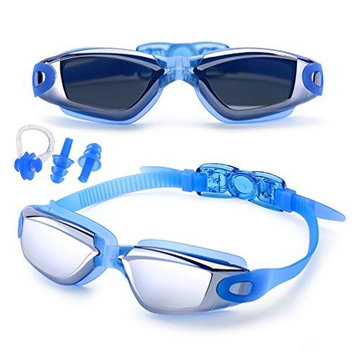 Feilan Gafas de natación antivaho con protección UVA para triatlón, con Estuche, Clip de Nariz, Tapones para oídos, para Hombres, Mujeres, jóvenes y niños, Azul