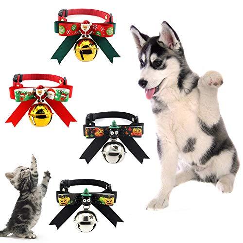 litty089 litty089 Huisdier Hond Klok kraag, Fledermuis pompoen Santa Elk patroon met strik omhangband, decoratie voor uw mooie huisdier Kerstmis en Halloween cadeau MNone Halloween pompoen *