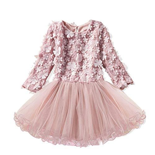 Hirolan Babykleidung Herbst Kinder Mädchen Party Spitze Tutu Prinzessin Kleid Säugling Baby Kleider Outfits Kinderbekleidung (110cm, Rosa 2)