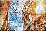 1000 piezas-Arena de Verona Antiguo anfiteatro romano en Italia durante el amanecer y rompecabezas de madera Rompecabezas educativos para niños de bricolaje Regalo de descompresión para adultos Juego