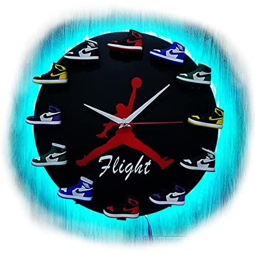 XIKADAN Reloj de baloncesto suministros creativos 3d zapatillas deportivas molde zapatos pequeños tendencia reloj de pared blanco para regalo de novio, sala de estar, oficina, negro