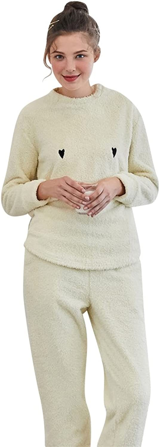 Mujap Women's Soft Lightweight Winter Flannel Pajama Sleepwear Set