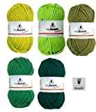 Mix-Sortiment myboshi Grün 5x50g (avocado 115, olive 125, limettengrün 121, grasgrün 122, smaragd 123) + 1 myboshi Label