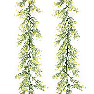 MELAJIA Artificial Baby Breath Flowers Garland 2 Pack(11.5Ft) Baby's Breath Flowers Vine Bulk Real Touch Gypsophila Hanging for Wedding Home Decoration