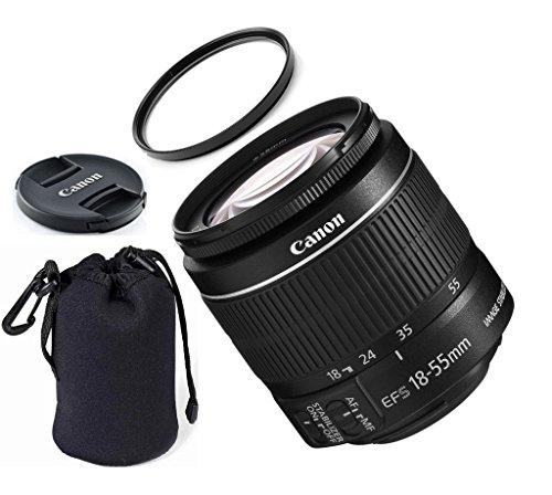 Canon EF-S 8114B002 18-55mm is STM (Bulk White Box Packaging) ZeeTech Premium Lens Bundle + High Definition U.V. Filter + Deluxe Pouch for Canon Digital SLR Cameras