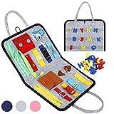 Esjay Busy Board per Bambini,Giochi Montessori Tavola Sensoriali,Giocattoli attività con Fibbie(Grigio)