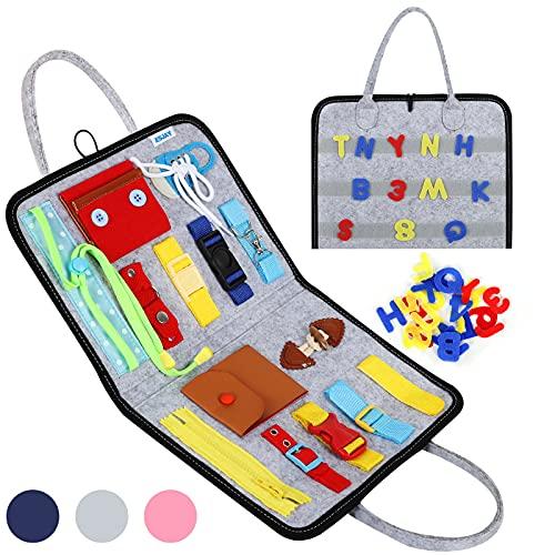 Esjay Busy Board für Kleinkinder, Montessori Spielzeug, Baby Pädagogisches Sensorik Spielzeug mit Verschlüsse, Motorikbrett, Activity Board für Reisen Auto Flugzeug(Grau)