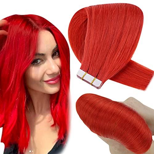 Hetto Extensions Tape in Echthaar Rot Tape in Remy Echthaar Haarverlangerung Naturlich Glatt Echthaar Tape in Rot 10pcs/20g 14 Zoll