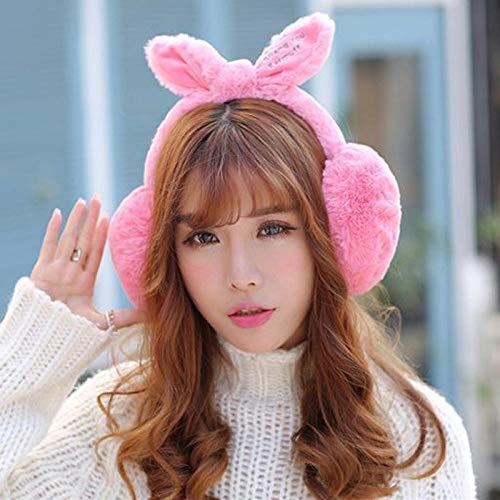 HYZDR Winter Ohrenwärmer Einstellbar !!! Kaninchenfell Winter Ohrenschützer Für Frauen Warme Ohrenschützer Ohrenwärmer Für Mädchen...