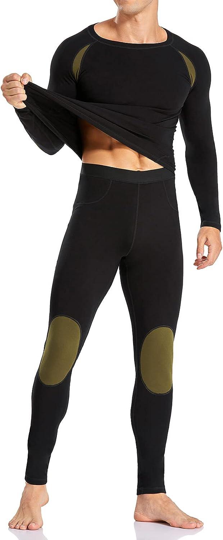 BTAPARK Thermal Underwear Set for Men Base Layer Set Lightweight Ultra Soft Long Johns Top and Bottom