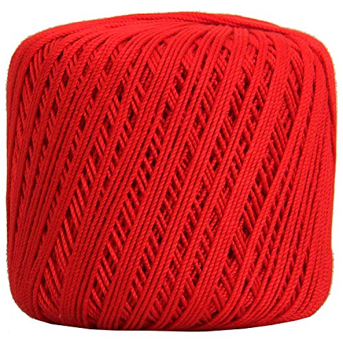 Threadart 100% Pure Cotton Crochet Thread - SIZE 3 - Color 12 - RED -2 sizes 27 colors available