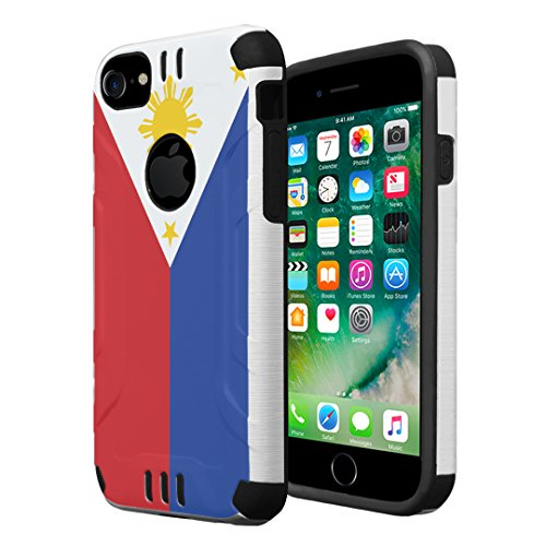 iPhone 7 Case, iPhone 6 / 6S Case, Capsule-Case Hybrid Dual Layer Silm Defender Armor Combat Case Brush Texture Finishing for Apple iPhone 7 / iPhone 6S / iPhone 6 - (Philippines Flag)