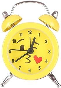 Emoji Emoticon Twin Bell Silent aleación de acero inoxidable despertador (B)