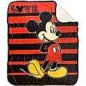 "Disney Mickey Mouse Love 50""x60"" Sherpa Throw Blanket"