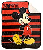 Disney Mickey Mouse Love Sherpa Throw Blanket - Measures 50 x 60 inches, Kids Bedding - Fade Resistant Super Soft - (Official Disney Product)