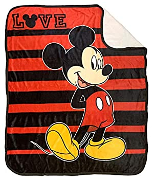Disney Mickey Mouse Love Sherpa Throw Blanket - Measures 50 x 60 inches Kids Bedding - Fade Resistant Super Soft -  Official Disney Product